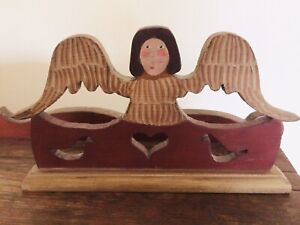 "1994 Signed NANCY THOMAS Wooden Angel 11 3/4"" x 7"""