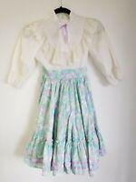 Vintage 80's Girls Mini World Party Dress Lace Trim Long  10