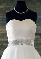 "Bridal ""Pamela"" Diamante Rhinestone Crystal Applique Wedding Dress/Belt Costume"