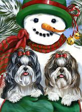 "Precious Pet Garden Flag - Shih Tzu Snowman 12"" x 18"" ~ Charity!"