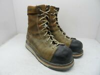 """TIMBERLAND PRO Men's GRIDWORKS 8"""" ALLOY TOE WORK BOOTS A12EZ Brown Size 10W"""