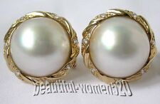 z286  RARE 20mm South Sea white Mabe pearl silver earring