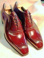 Handmade Men's red Heart Medallion Dress/Formal Oxford Leather Shoes
