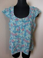 Marc Jacobs Cap Sleeve Tank Top Blouse 100% Silk Floral Blue Print Size 12