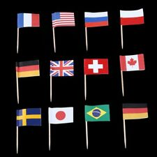 Any 6 of 200 Countries Nations Flag Picks Paper Toothpick Food Cupcake Cocktail