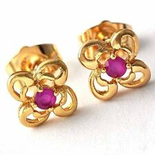 Gift womens Flower stud earrings gorgeous small Red crystal crystal Birthday