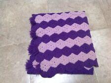 Vintage Hand Crochet Purple Light and Dark Lap Blanket Afghan Throw Fringe 32X80