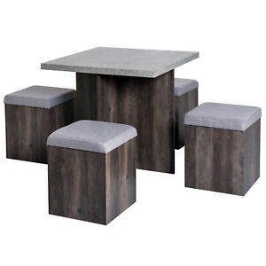 Particle Board Space Saving Indoor & Outdoor 4 Seater Dining Set Grey