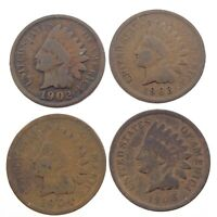 Lot of 4 Indian Head Penny 1902 1903 1904 1908 United States KM 90a Coin T560