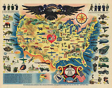 1944 Map Pictorial Military WWII War Bonds Poster History Wall Art Print