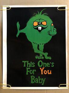 Original Vintage Blacklight Poster This Ones For You Middle Finger Monster Pinup