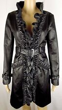 Bebe Women Small Black Satin Ruffle Belted Trench Coat