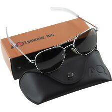 AO American Optical Military Aviator Silver Frames 55 mm Sunglasses Gray Lens