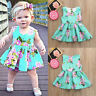 Baby Girls Infant Kids Floral Printed Casual Sundress Clothes Princess Dress