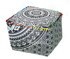 """22"""" Square Ottoman Pouf Cover Indian Grey Ombre Floral Mandala Indian Footstool"""