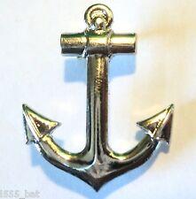 Chrome Sailing Ship Yacht or Boat 25mm Anchor Metal Badge Lapel Pin Navy