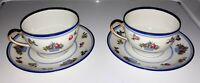 Set Of 2 Vintage Limoges Tea Cups And Saucers Bernardaud