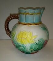 Antique Majolica Pottery Pitcher Water Lily Waterlilies Pond Jug Samuel Lear