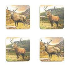 4  X BOXED HIGHLAND STAG BROWN CORK BACKED DRINK GLASS COASTERS