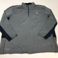 Russell Dri-Power 360 Quarter Zip Sweatshirt Mens 3XL XXXL Long Sleeve Gray Navy