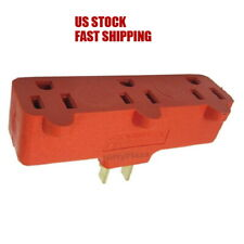 3 Outlet Heavy Duty Grounding Adapter Outlet Wall Plug Splitter Turn 1 to 3 Plug