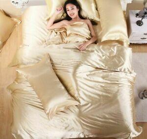 Pure Satin Silk Bedding 3/4/5Pcs Set Home Textile King Size Bed Sheet Pillowcase
