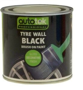 Autotek Brush On Black Tyre Paint 250ML - Helps Protect Tyre Walls From Cracking