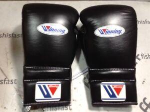 WINNING Boxing Gloves MS-600 Lace Up Pro Type Training 16 oz Black Japan NEW