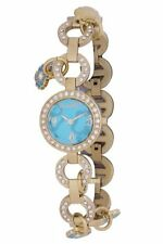 Chronotech Women's CT.7011LS/08M Aqua  Dial Crystals Gold IP Steel Watch