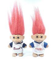 "Vintage Russ Troll Dolls 3"" Lot of 2 Sports Baseball Jersey 1991"