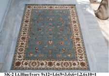 India 80x300 2.6x10 Hand Knotted Soft Wool Viscose Art Silk Carpet Area Rug
