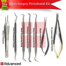 7pcs Dental Micro Surgery Periodontal Kit Surgical Perio Knives Scissors Forceps