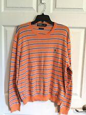 Polo By Ralph Lauren, Men's X Large, Sweater, Irange, Blue, White Stripe,