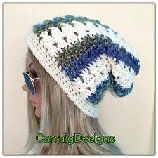 HANDMADE Womens teen Slouchy cream multi Irish Beanie hat beret crochet knit tam