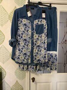 Klass Two Piece Soft Denim Mix 20 Top  Tiered Elasticated Skirt 18 Nwt Blue