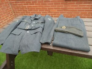 Original RAF WW2 style enlisted man's uniform tunic,trousers,sidecap,1948 dated