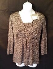 SALE NWT Liz Claiborne Black/Gray Semi-Sheer Leaf 3/4 Sleeve Blouse Sz S #G372