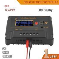 30A 12V/24V Solar Panel Charger Controller Battery Regulator Dual USB DC LCD #M