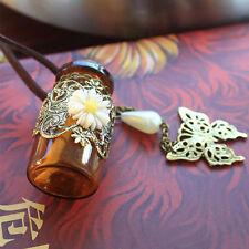 Cadena Estilo Deseos Botella Collar Colgante Flor Colgante De Mariposa