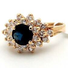 Thin DIAMOND & BLUE SAPPIRE CLUSTER Cocktail RING 14K Yellow GOLD 1.12ctw H/SI