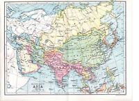 1922 Estampado ~ Mapa ~Político~ Asia
