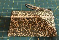 Batik Fabric Wristlet Pouch Bag with Bead Embellishment