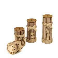 4 pcs Natural Assorted Wood Candle Holders with String Ribbons and Stars Sale