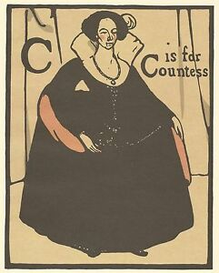 William Nicholson Woodcut Print 1898 C is for COUNTESS Alphabet Lithograph 1975