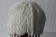 VINTAGE 80s MARCHE SEQUINED FLAPPER STYLE HAT W/1920s EARRINGS; VINTAGE HAT BOX