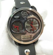 "SKMEI 5 BAR, ""Dual Dial"" 2 Watchs Chronograph, LG Face, BIG MENS WATCH, 280 L@@K"