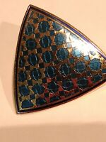 Signed DURI Shield Shaped gold tone with enamel earrings Vintage 1980's