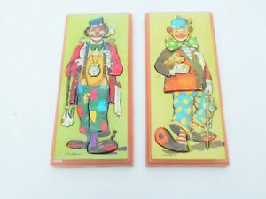 set 2 frame vintage rare clowns pictures 3d art paper with resin