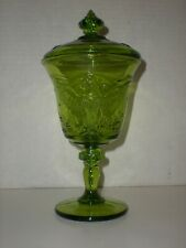 vtg Green Apothecary Jar Footed glass Candy Container US Eagle