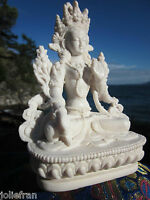TIBETAN BUDDHIST LUMINOUS LONG LIFE & SERENITY BELOVED WHITE TARA STATUE 6""